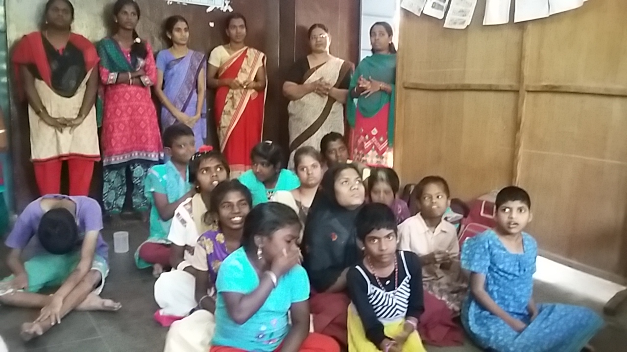 Asha Kiran Ashram school children and teachers