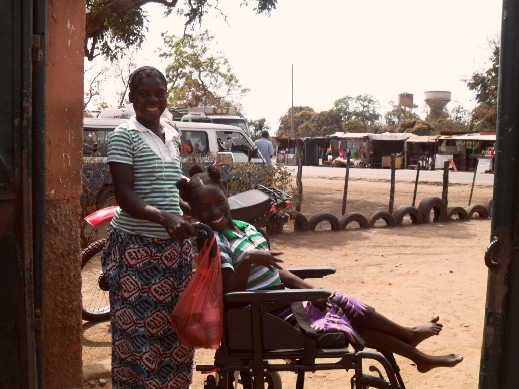 Wheelchair, disabled girl, cerebral meningitis, Zambia, medical charity help, Monze